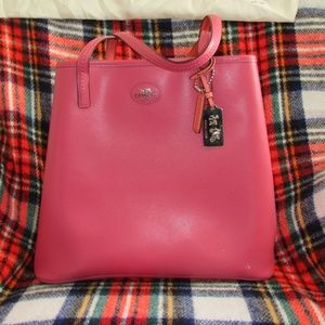 Coach Metro Tote Large Saffiano Loganberry/ Coral